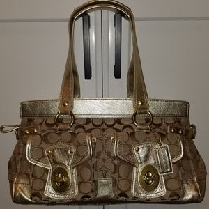 COACH GOLD & TAN LEATHER SATCHEL HANGBAG